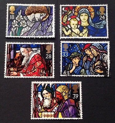COMMONWEALTH - GB 1992 CHRISTMAS Stained Glass Windows Set (5) Used Stamps
