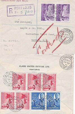 Mauritius 1951 Air mail  Registered cover from Port Louis to London, UK