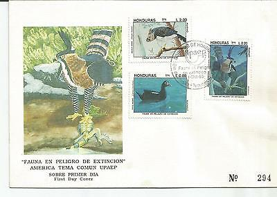 Honduras. Stamp Lot. Sc. C908-C910(3). FDC. Endangered Birds of Honduras. UPAEP.