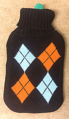 2L Rubber Hot Water Bottle with Soft Knitted Brown Case Orange Blue Warm Cosy