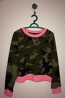 SOUTH BEACH Army Camouflage Pink Long Sleeve Sweatshirt Top size L 12