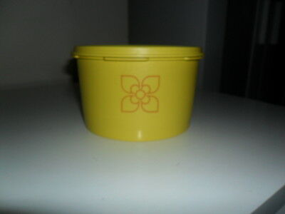 Vintage Tupperware Bright Yellow Storage Canister Fan Lid Retro