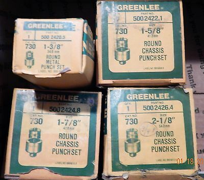 Greenlee Round Chassis Punches Lot (12) 730 No Reserve