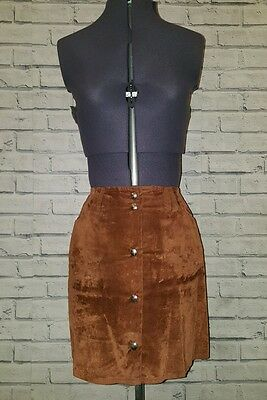 Vintage brown suede button up skirt, Size 8/10