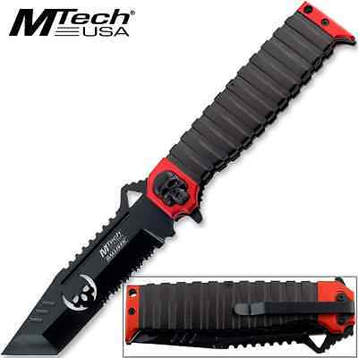 """Mtech Usa 9.5"""" Tanto Skull Red Sawback Spring Assisted Tactical Folding Knife"""