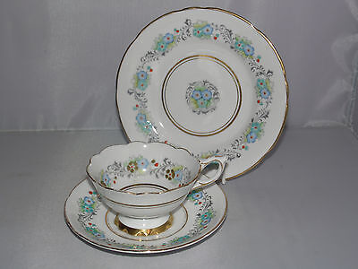 Royal Stafford Bone China Trio footed  Cup And Saucer and plate (58c)