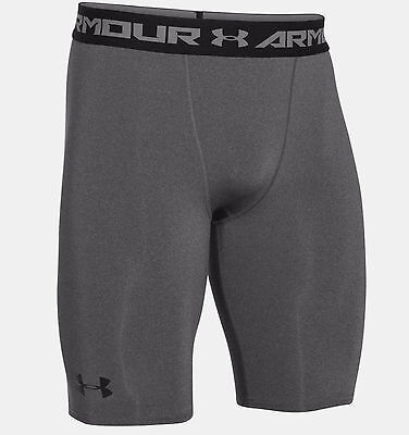 "Under Armour Heatgear Armour 9"" Long Compression Shorts  Carbon Heather  New."