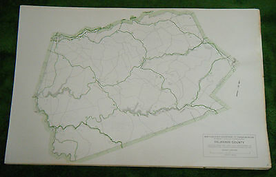 Rare Vintage New York County Map 1970s Delaware
