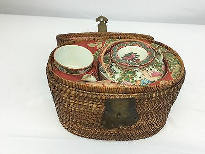 Antique Chinese Porcelain Rose Medallion Tea Cup Set With Original Woven Basket
