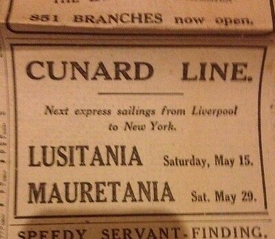 Advert For The Lusitania The Day It Was Sunk 7/5/15 Within A Daily Mail WW1