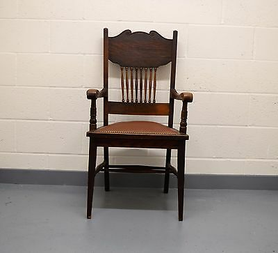 Antique Leather Seated Oak Arm Chair