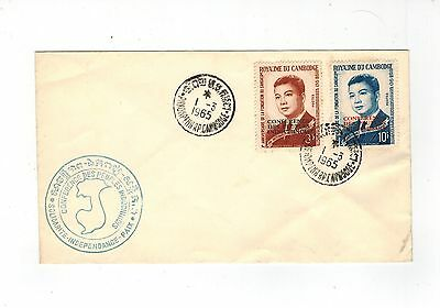 Cambodia 1965 First Day Cover Set Of 2 With Conference Overprint Fdi 1 3 1965
