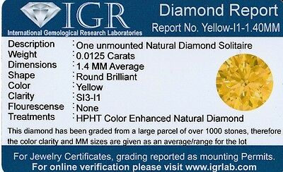 1 Diamante Natural Si3  Yellow  1.40 Mm/0.0125 Quilates Certificado Igr Agest02