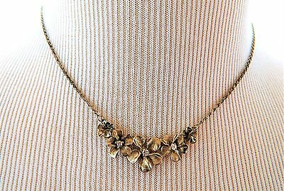 Vintage 925 Sterling Silver Flower Choker Necklace Rhinestone Signed Italy 16""