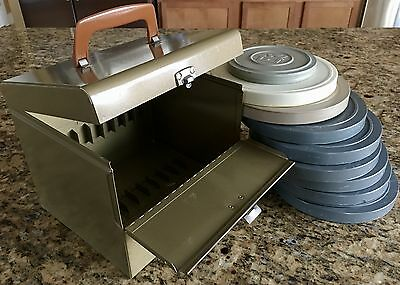 A+++ Vintage Super 8 Movie Reel Metal Case Chest Carrying Storage Box Set for 12