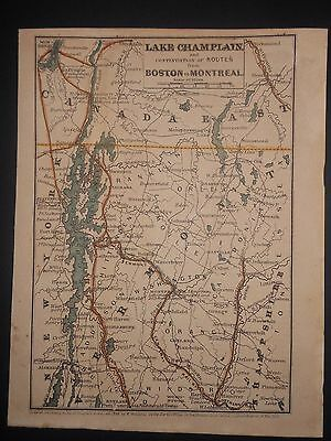 New York Boston Montreal Vermont New Hampshire Lake Champlain 1848 Map H/Color