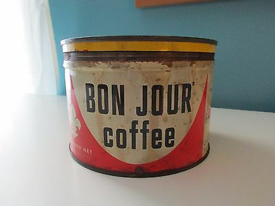 "Vintage ""Bon Jour"" Coffee Can, Opened and Empty"