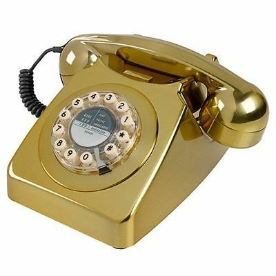 Gorgeous GPO Style Vintage Retro Phone 746 Telephone with Push Button Dial Gold
