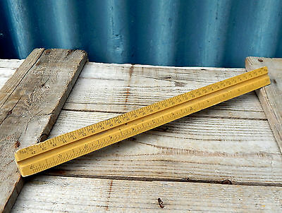 Vintage Wooden Three Sided Architects  Drafters  Scale Rule Ruler