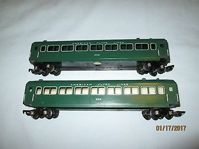 2 American Flyer #655 Green New Haven Passenger Car. Excellent Minus Condition.