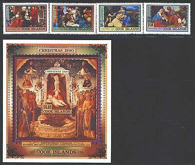 COOK ISLANDS 1042-46 SG1248-51,MS1252 MNH 1990 Christmas set of 4+MS Cat$25