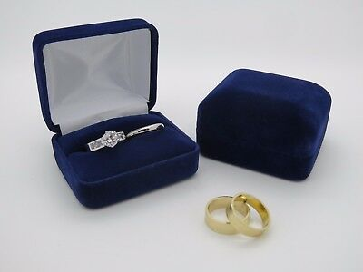 Bride & Groom Luxury Blue Velvet Double Wedding Ring Bearer Box