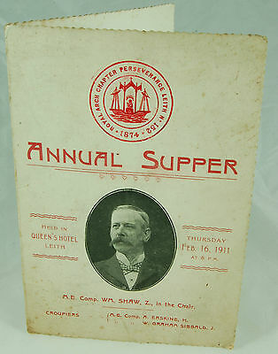 Royal Arch Chapter Perseverance Leith No. 152 - Annual Supper 1911