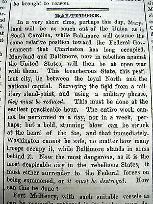 1861 Civil War newspaper BALTIMORE RIOTS Maryland Leans to South LINCOLN FIGHTS