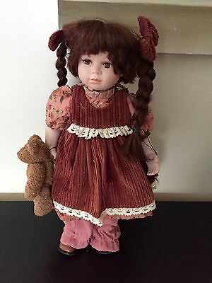 The Leonardo Collection Porcelain Doll 20 inches with display stand