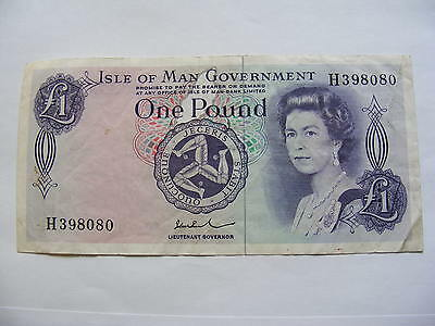 Superb 1976 £1 Pound ISLE OF MAN GOVERNMENT PAUL Banknote Queen Elizabeth II IOM