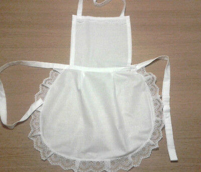 Ladies White Full Cotton Apron Pinny Lace Vintage Retro   Victorian Maid