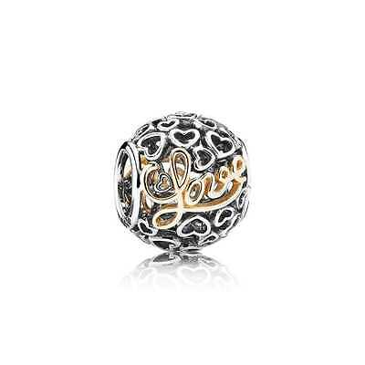 """Genuine PANDORA Sterling Silver & 14ct Gold """"Message of Love"""" Charm, 791425 ALE."""