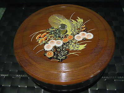 Vintage 1960's Floral Woodgrain Look Lacquerware 2 Tier Divided Tray with Lid