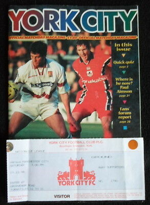 York City v  Manchester City  & ticket      18-12-1998.