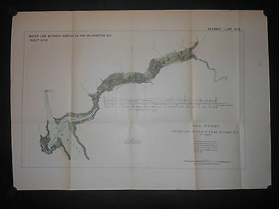 Canal Between Neuse & New River North Carolina 1876 Map Jacksonville H/C