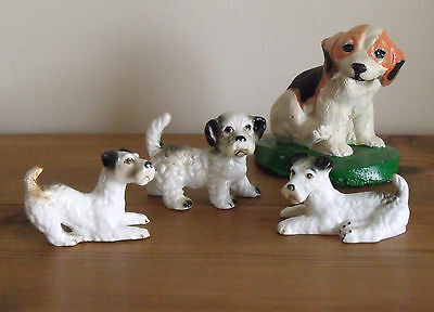 3 Cute China Terrier Dog Ornaments Plus a Small Concrete Dog