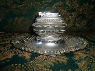 Vintage MTC Table Lighter & Ashtray Stand, Queen Anne Style
