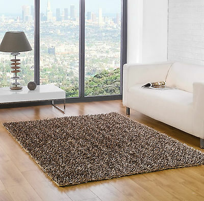 "High Shine Spider Shaggy Chocolate Champagne Rug in 70 x 140 cm (2'4""x4'7"")"