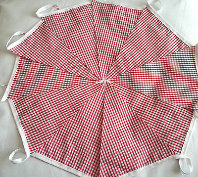 10 FEET RED GINGHAM check Handmade Fabric Bunting Country Kitchen Barn Dance