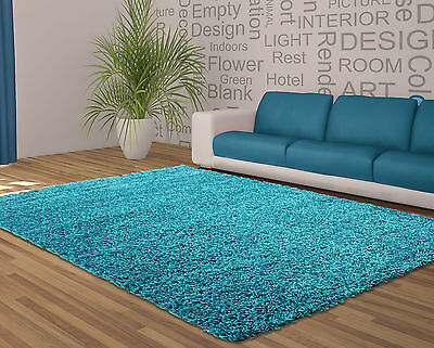 "Soft Shaggy Blue Teal Rug Thick Bargain Cheap Price in 120 x 160 cm (4'x5'3"")"