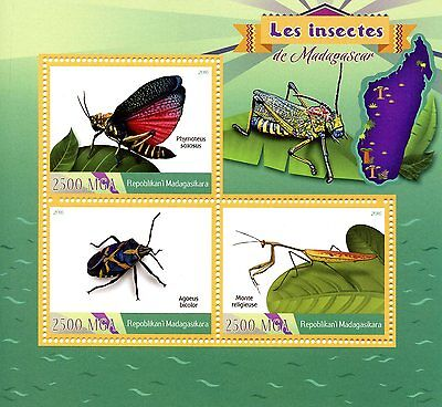 Madagascar 2016 MNH Insects Beetles Grasshoppers Mantis 3v M/S Stamps