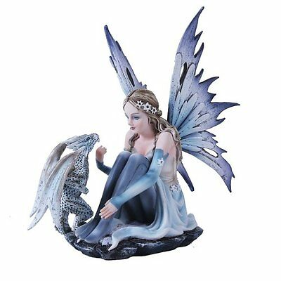 Snowflake Winter Fairy With Snow Leopard Dragon Statue Flower Season Figurine