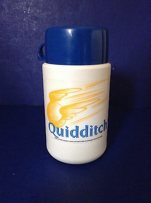 2001 Harry Potter Quidditch Blue White Plastic Thermos #3700 lunchbox size