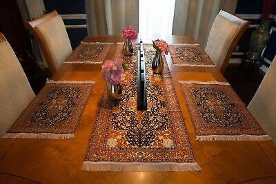 Woven Turkish Floral Table Runner & Place Mat Set (Mini Rug/Carpet)