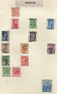 Greece Stamp Collection on Old Album Page #19 -  MH & Used