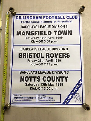 Gillingham Fc Poster, Showing Mansfield, Bristol Rovers And Notts County