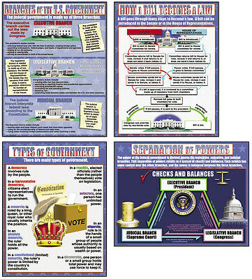 USA GOVERNMENT POSTER SET Middle High School Classroom Bulletin Board Decoration