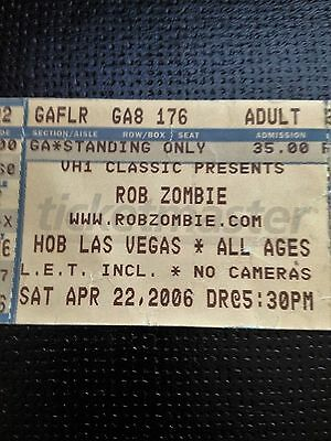 Rob Zombie- Used Concert Ticket Sat Apr 22  2006