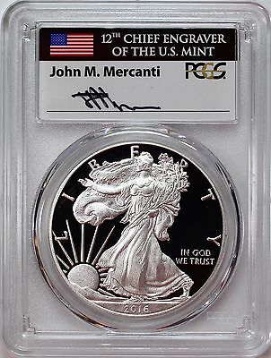 2016 W $1 Proof Silver Eagle 30th Anniversary PCGS PR70 DCAM Mercanti Signature