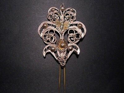 POMPOUS ANTIQUE 18th -19th CENTURY SILVER PLATED FILIGREE JEWELRY PIN!!!